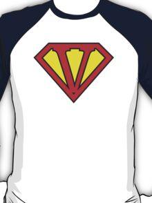 V letter in Superman style T-Shirt