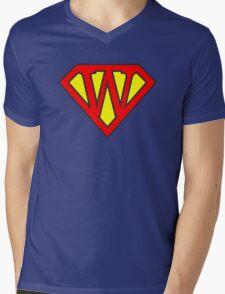 W letter in Superman style Mens V-Neck T-Shirt