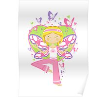 Yoga Girl with Butterflies Poster