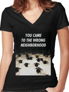 Wrong Neighborhood ! Women's Fitted V-Neck T-Shirt