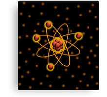 Golden Glowing Atomic Structure Canvas Print