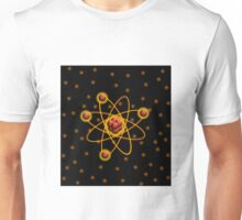 Golden Glowing Atomic Structure Unisex T-Shirt