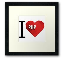 I love PHP Hearth Vector Polygons Framed Print