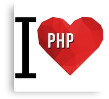 I love PHP Hearth Vector Polygons Canvas Print