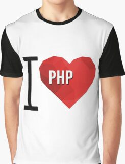 I love PHP Hearth Vector Polygons Graphic T-Shirt