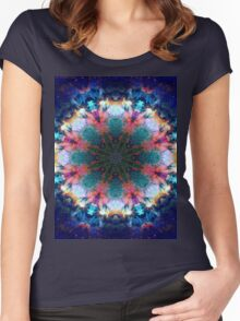Trippy Rainbow Space Kaleidoscope Women's Fitted Scoop T-Shirt