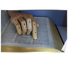 Manikin Hand Using A Dictionary - Poster