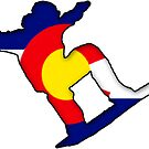 Colorado Flag Snowboarder by tychilcote