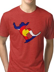 Colorado Flag Snowboarder Tri-blend T-Shirt