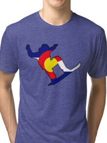 Colorado Flag Snowboarder Tri-blend T-Shirt