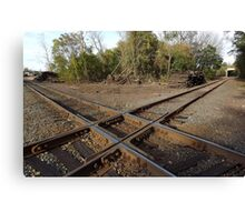 Railroad Track Crossing In An Old Railroad Fright Yard - Canvas Print