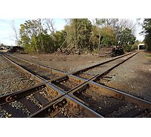 Railroad Track Crossing In An Old Railroad Fright Yard - Photographic Print