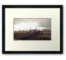 A New Electric Train Running Through An Old New England Factory Town Framed Print