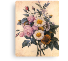 vintage botanical art, beautiful yellow daisy and pink rose flowers. Canvas Print