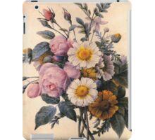vintage botanical art, beautiful yellow daisy and pink rose flowers. iPad Case/Skin