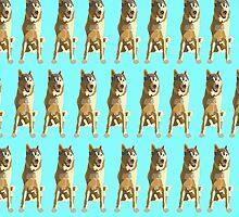 Bright Cyan Puppy Pattern by pupsofnyc