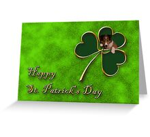 St. Patrick's Day Clover Sheltie Puppy Greeting Card