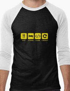 Eat Sleep Code Repeat Men's Baseball ¾ T-Shirt
