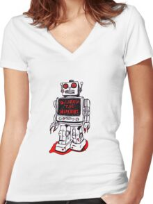 Robot Destroy All Humans Women's Fitted V-Neck T-Shirt
