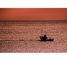 Fishing boat at sunset, Port Phillip Bay, Victoria Photographic Print