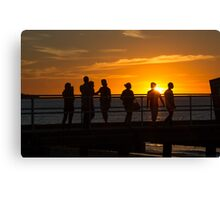 Silhouette people admiring the sunset, Frankston, Victoria Canvas Print