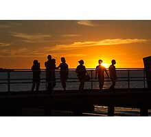 Silhouette people admiring the sunset, Frankston, Victoria Photographic Print
