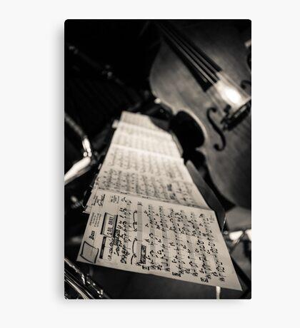Sheet music & double bass Canvas Print