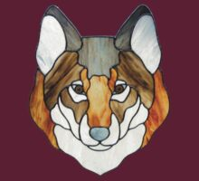 Stained Glass Wolf Head by bigblued