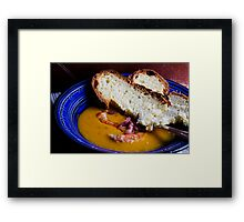 Pumpkin and carrots Vellutèe served with prawns and bacon Framed Print