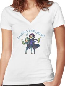 Clueing for Cuties Women's Fitted V-Neck T-Shirt