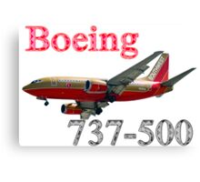 Southwest Airlines Boeing 737-500 w text Canvas Print