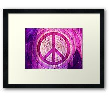 Peace Sign - Grunge Texture with Scratches Framed Print