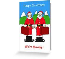 We're moving house Mr and Mrs Christmas cartoon. Greeting Card