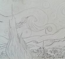 Artist Contours Project: Ode to van Gogh, Starry Night by Carrie Brummer