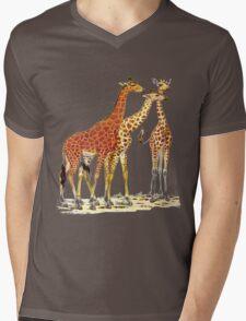 Giraffe Family Mens V-Neck T-Shirt