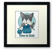 Time to Knit Siamese Cat Knitting Framed Print