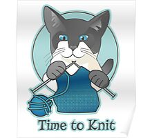Time to Knit Siamese Cat Knitting Poster