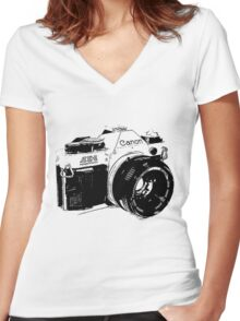 Vintage Canon Camera Women's Fitted V-Neck T-Shirt