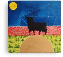Spanish Black Bull on the hillside. Canvas Print