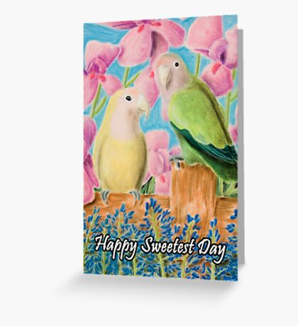 Sweetest Day Peach-faced Lovebird Greeting Card