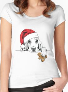 Christmas dog Women's Fitted Scoop T-Shirt