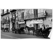 Horse Carriages in Palermo, Italy. 2014 Poster