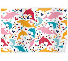 Cute colorful dolphins pattern Poster