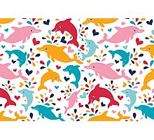 Cute colorful dolphins pattern Photographic Print