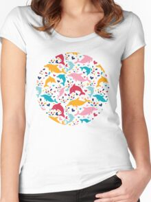 Cute colorful dolphins pattern Women's Fitted Scoop T-Shirt