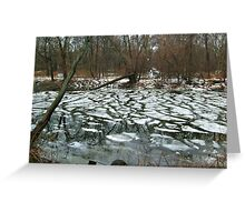 The Pompton River With Patches of Freezing Greeting Card