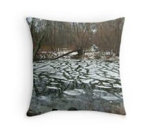 The Pompton River With Patches of Freezing Throw Pillow