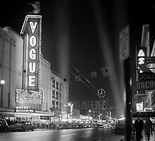 Vogue Theatre at night with spotlights by boogeyman