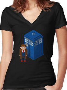 Pixel Who Women's Fitted V-Neck T-Shirt