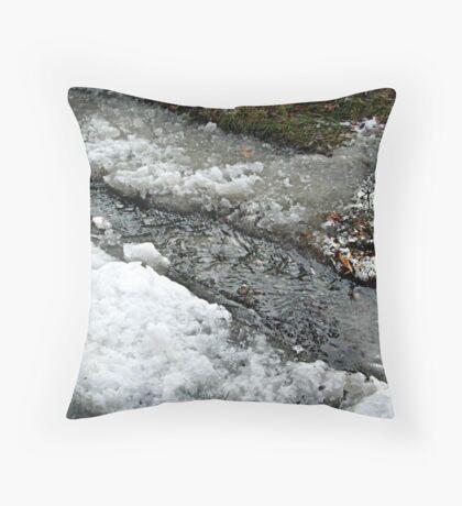 Mixture of Snow, Ice, Slush and Running Water  Throw Pillow